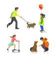people outdoor activity walking playing vector image vector image