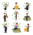 rich wealthy happy millionaire characters set of vector image vector image