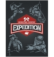 Rock climbing expedition set - expeditions emblem vector image vector image