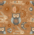 seamless pattern with celestial owl and hare vector image