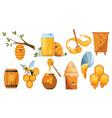 set beekeeping wooden jar vector image