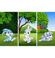 set funny rabbits with nature background vector image vector image