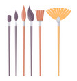 set of paint brushes of different shapes isolated vector image vector image
