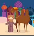 Shepherd with camel desert manger nativity merry
