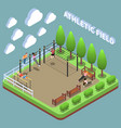 sports ground isometric composition vector image vector image