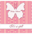 Striped-background-baby-shower-butterfly-girl vector image vector image