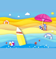 surfboard pink parasol - umbrella in paper cut vector image