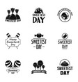 sweetest day logo set simple style vector image