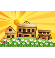 The sunset and the houses with different designs vector image vector image