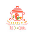 time to cook studio logo design kitchen emblem vector image vector image
