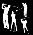 white silhouette of a golfer man on a black vector image vector image