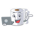 with laptop cartoon toilet paper in the bathroom vector image vector image