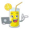 with laptop lemon juice glass on cartoon shape vector image