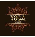 Youga studio emblem logo with mandala vector image