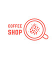 coffee shop with red thin line cup vector image