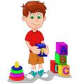 cute boy cartoon playing lego vector image