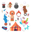 amazing circus show set vector image vector image