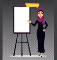 arab business character standing near flipchart vector image