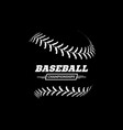 baseball ball on black background vector image vector image