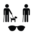 Blind man icons set - with guide dog cane vector image vector image