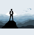businessman standing on the rock vector image vector image