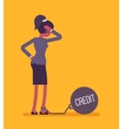 Businesswoman chained with a weight Credit vector image vector image