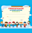 certificate template with happy children in winter vector image vector image