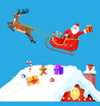 christmas card with rooftop santa claus with gift vector image vector image