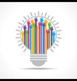 Colorful raised hand in the light-bulb vector image vector image