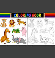 coloring book with wild animals cartoon vector image vector image