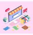 computer shopping isometric composition vector image vector image