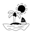 contour palm with sailing boat around of island vector image vector image