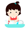 cute girl washing hands vector image vector image