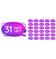 days left badges day numbers countdown clock vector image