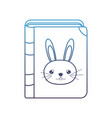 degraded line education rabbit book object style vector image