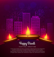 diwali diya place infront of building design vector image vector image