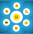 flat icon expression set of smile cross-eyed face vector image vector image