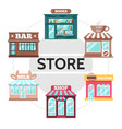 flat store facades round concept vector image vector image