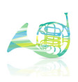 french horn music instrument colorful and white vector image