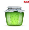 glass jar with kiwi jam vector image vector image