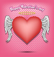happy valentine day heart with wings and nimbus vector image vector image