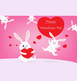 happy valentines day with cute rabbits vector image