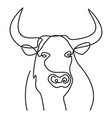 head bull silhouette full face drawn with one vector image vector image