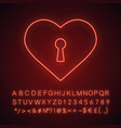 heart with keyhole neon light icon vector image