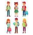 high school students kids pupils with globe vector image vector image