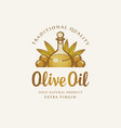 label for olive oil with inscription vector image vector image
