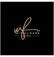 letter wf signature logo template vector image vector image
