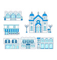line art set of houses with balcony church shop vector image vector image