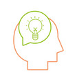 line silhouette man with bulb idea inside chat vector image vector image