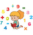little girl and many numbers vector image vector image